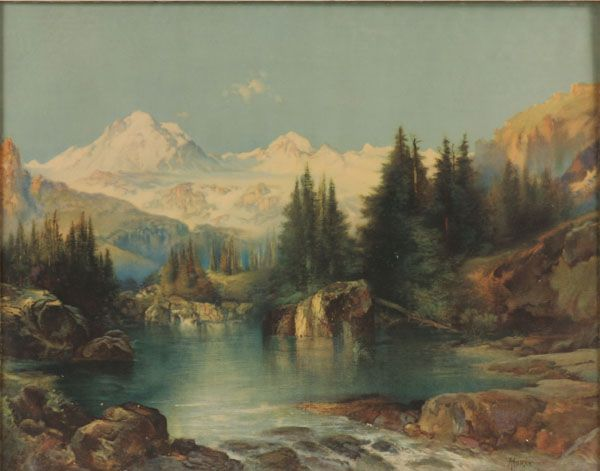 "Thomas Moran (American, 1837-1926) View of the Rocky Mountains Color print Signed and dated '96 in the plate  21 1/2"" x 27 1/2"""
