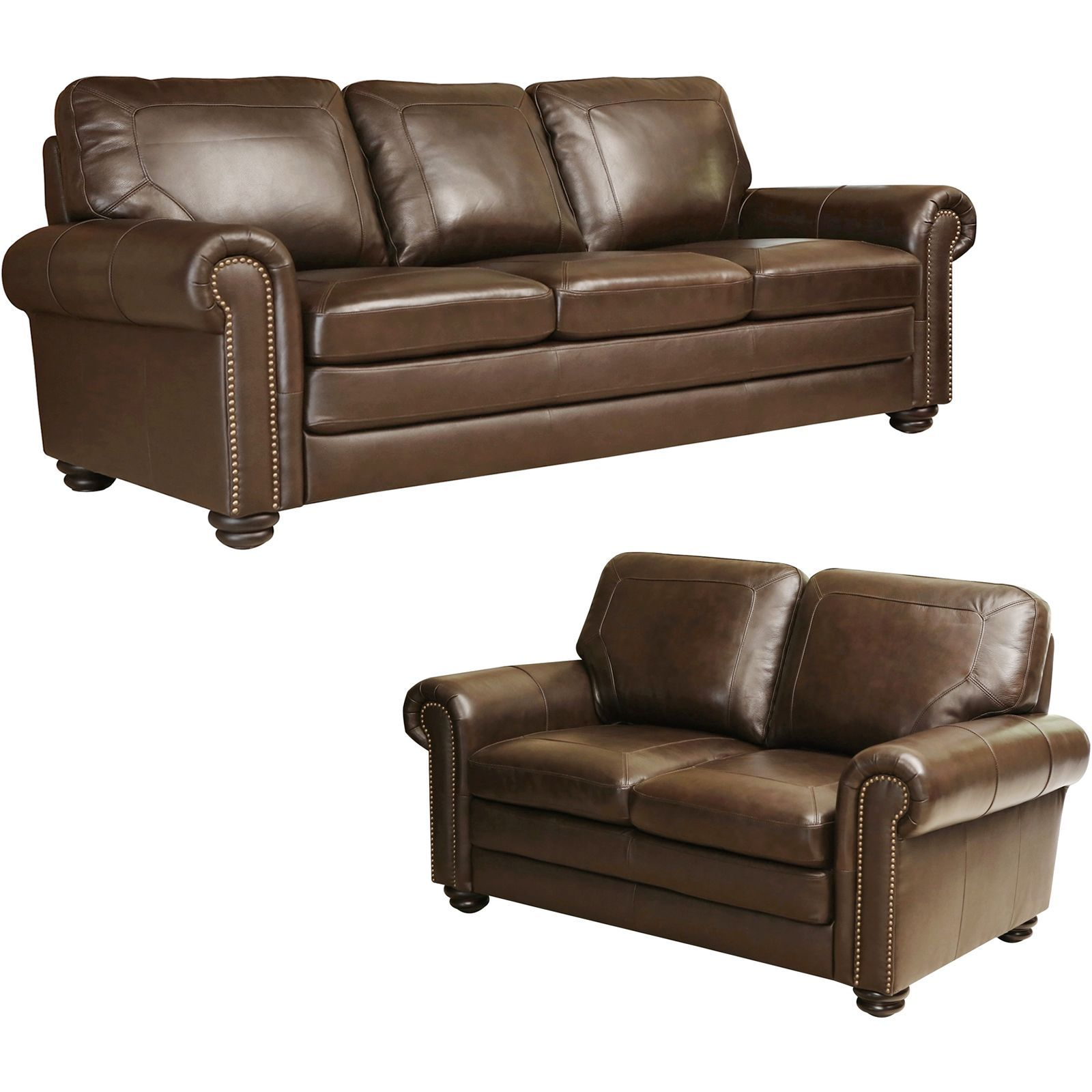 Abbyson Living Bradford Top Grain Leather Sofa and Loveseat Brown