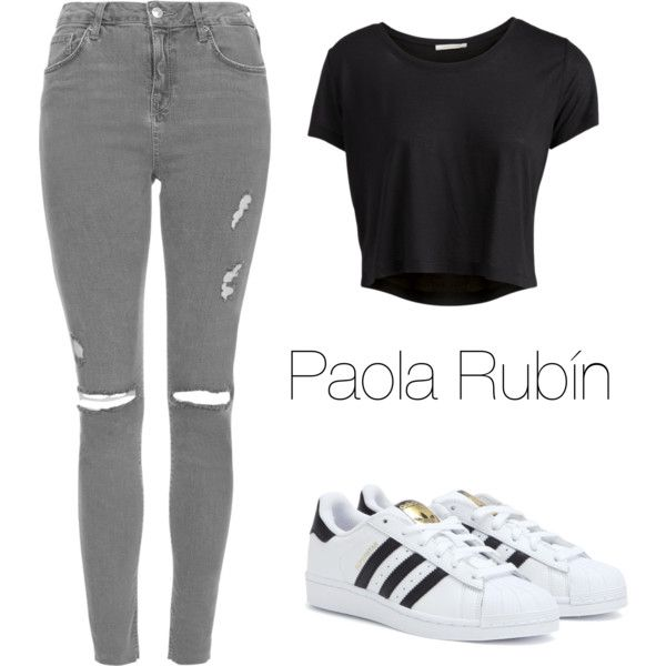Untitled #40 by pao-xox on Polyvore featuring polyvore fashion style Pieces Topshop adidas