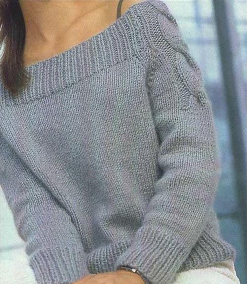 свитер с открытыми плечами спицами стильный реглан спицами схема и