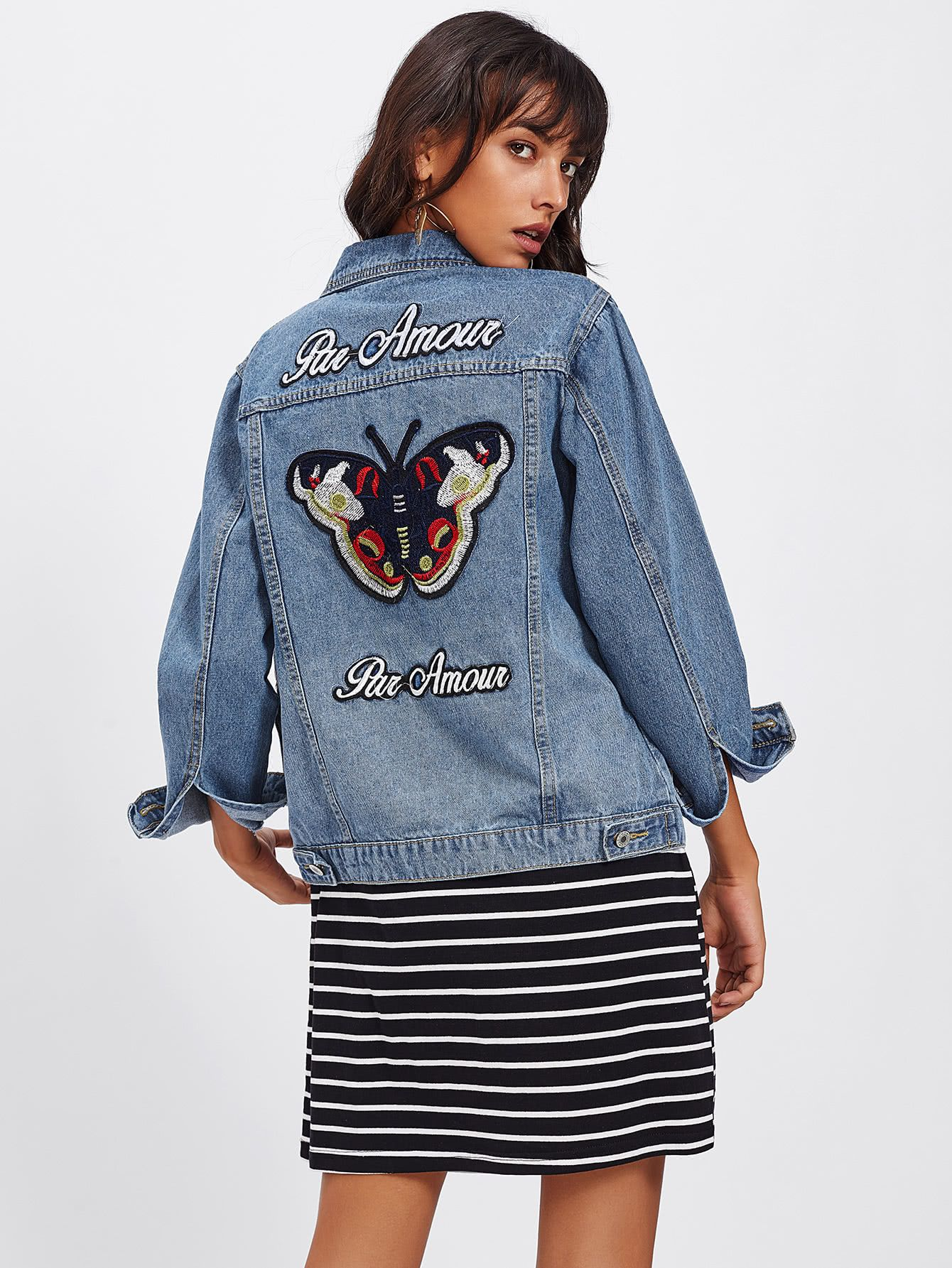 477225ca4a Butterfly Embroidered Back Denim Jacket -SheIn(Sheinside ...