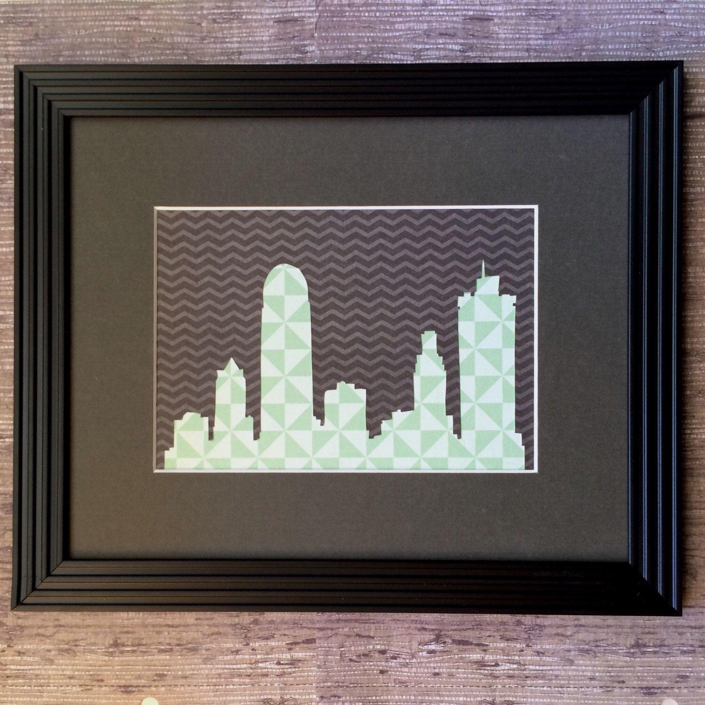 Handcut Winston Salem NC Skyline, Geometric, Black & Teal, 8 x 10 ...