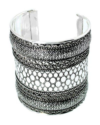 Silver Tone Vintage-style Designer-look Snake Cuff Black Finish  Skin Patten-2.5 Inches Wide #25, #Black, #Cuff, #Designer, #Finish, #Inches, #Look, #Patten, #Silver, #Skin, #Snake, #Style, #Tone, #Vintage, #Wide - http://goo.gl/m6CHy
