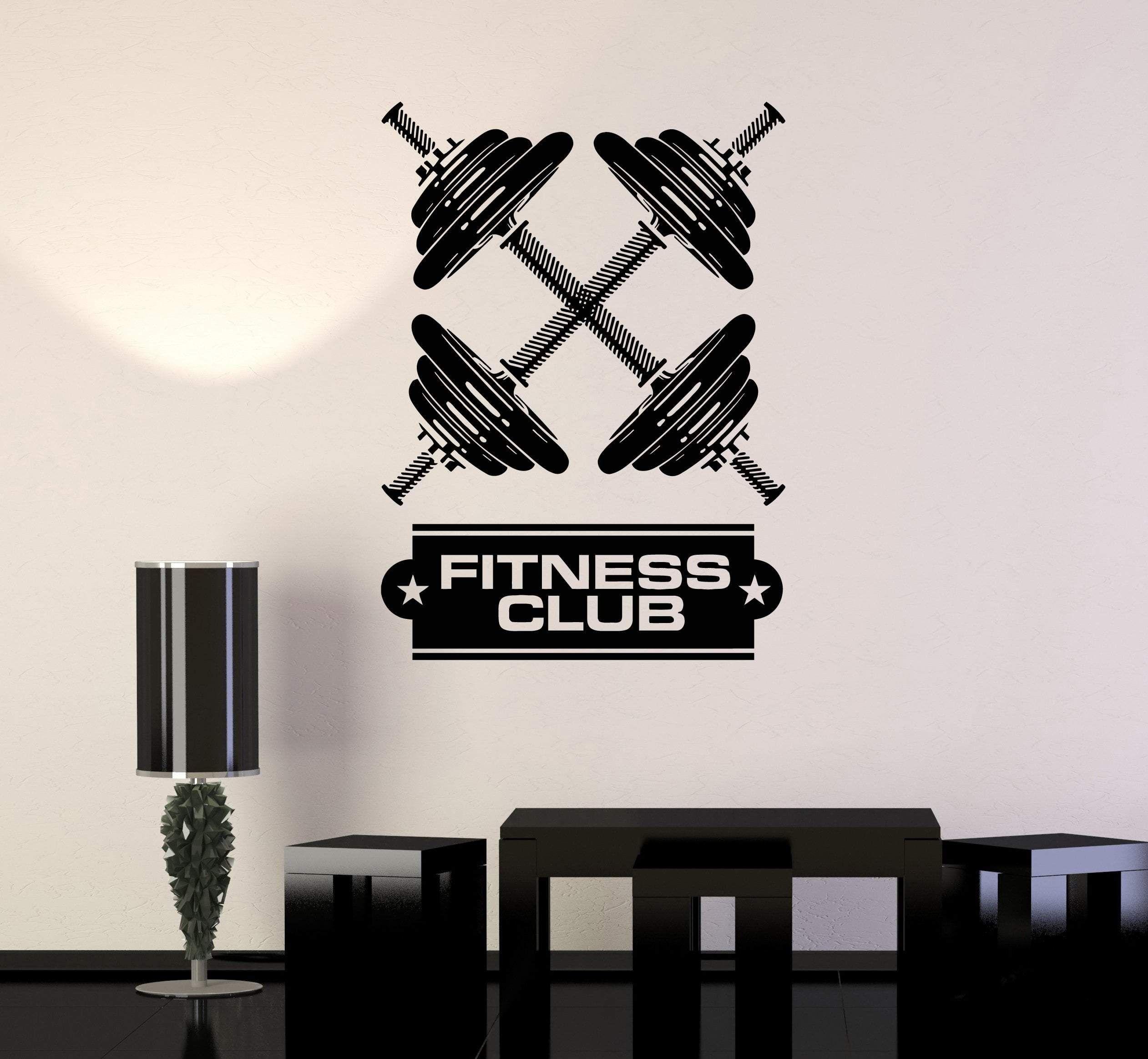 Vinyl Wall Decal Dumbbells Fitness Club Gym Bodybuilding Art Decor