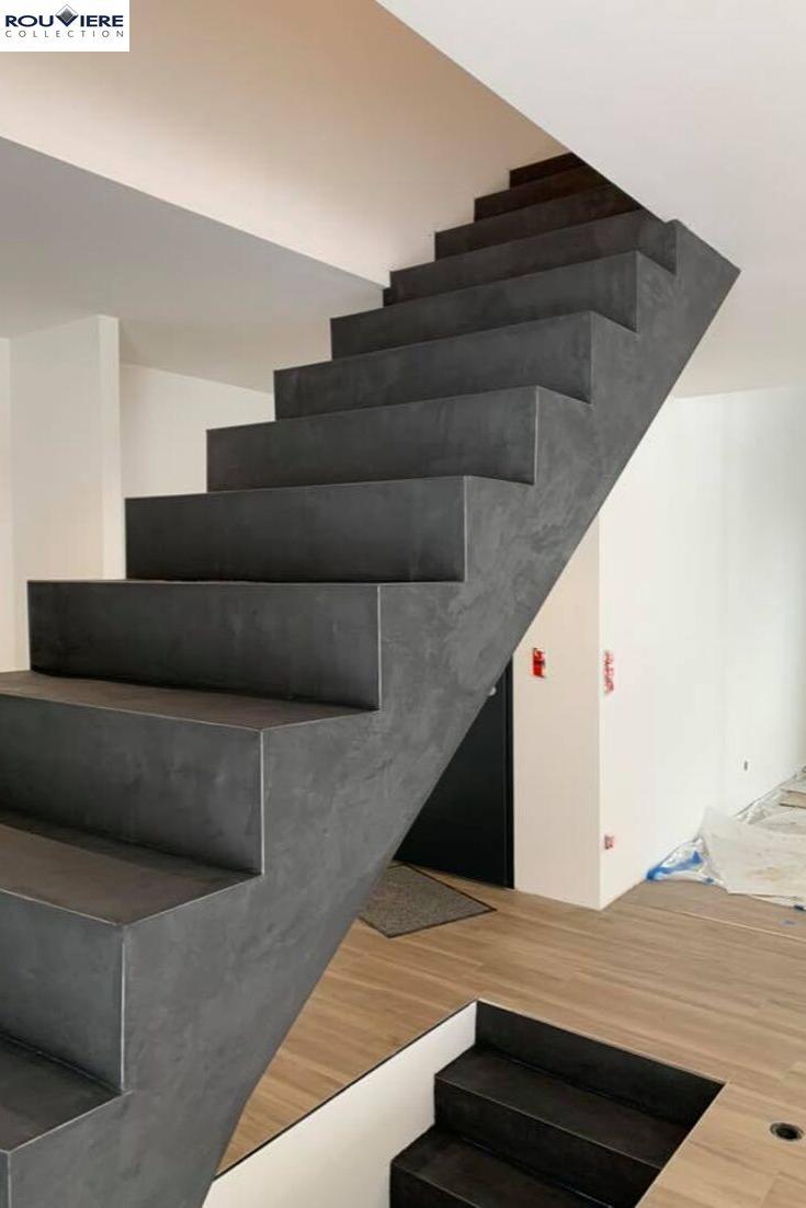 Modernisez Vos Escaliers Avec Un Revetement Enduit Beton Cire Escaliers Interieur Escalier Beton Architecture D Escaliers