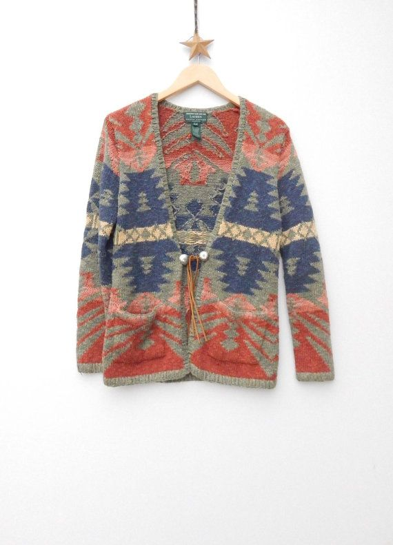 d3e0df096 RALPH LAUREN ......Hand Knit Southwestern Navajo Indian Cardigan Sweater