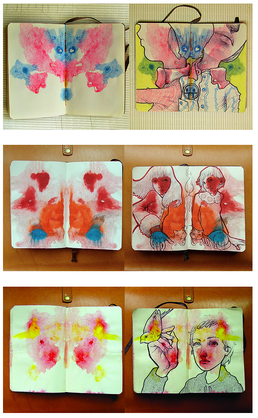 Buena idea para hacer con chicos y desarrollar la imaginación. rorshach drawing exercises - sketchbook