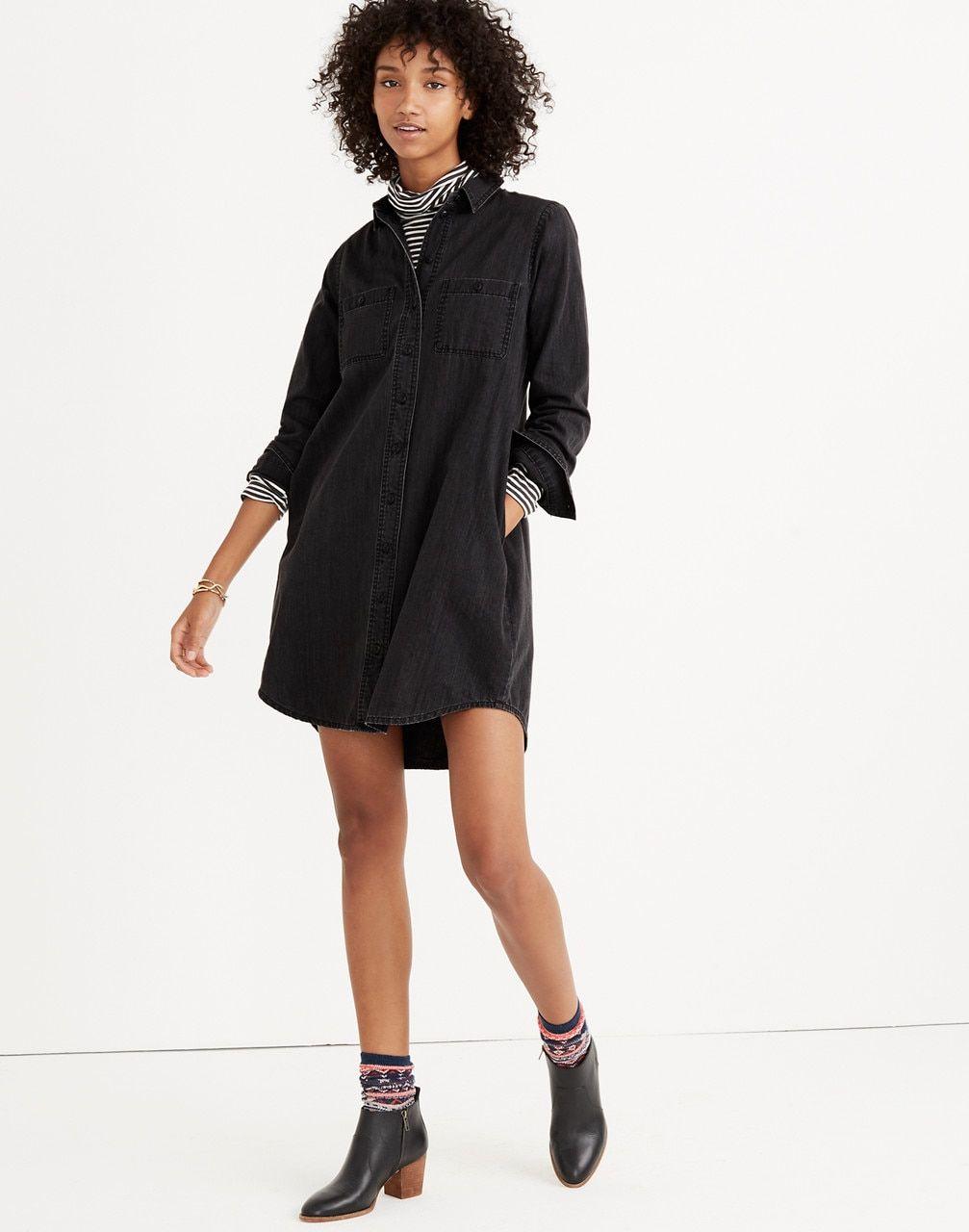 Women's Black Denim Shirtdress | Black denim shirt, Shirt dress ...