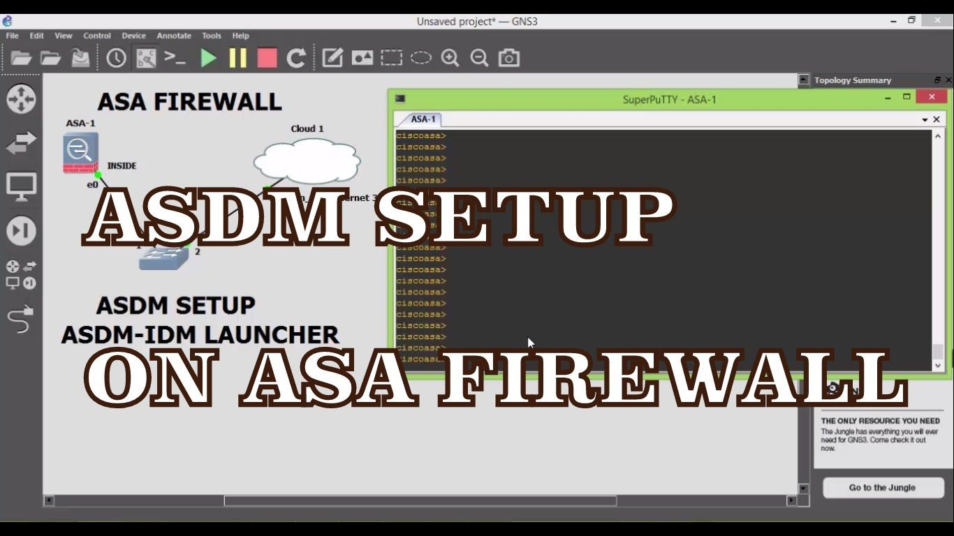 ASDM Setup on Cisco ASA 5520 FIREWALL | A New GNS3 ( ver 1 2 3 ) | CISCO