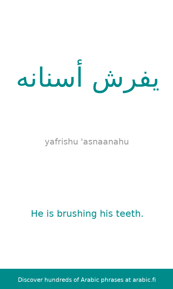 The Arabic Sentence He Is Brushing His Teeth Described And Analyzed We Show You Informat Learn English Words Learn Arabic Language Learn English Vocabulary
