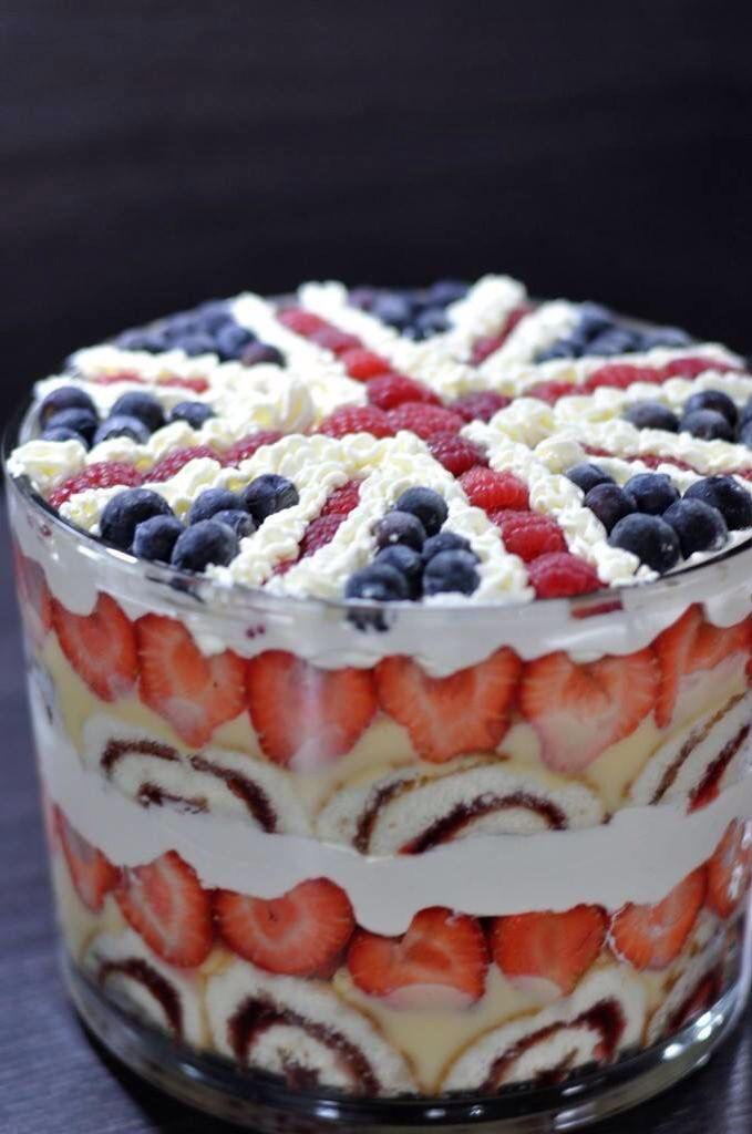 English Trifle A Beautiful Dessert Presented In A Glass Bowl Lined With Jelly Roll Sliced And Fruit Then Filled With L Trifle Recipe Desserts Trifle Desserts