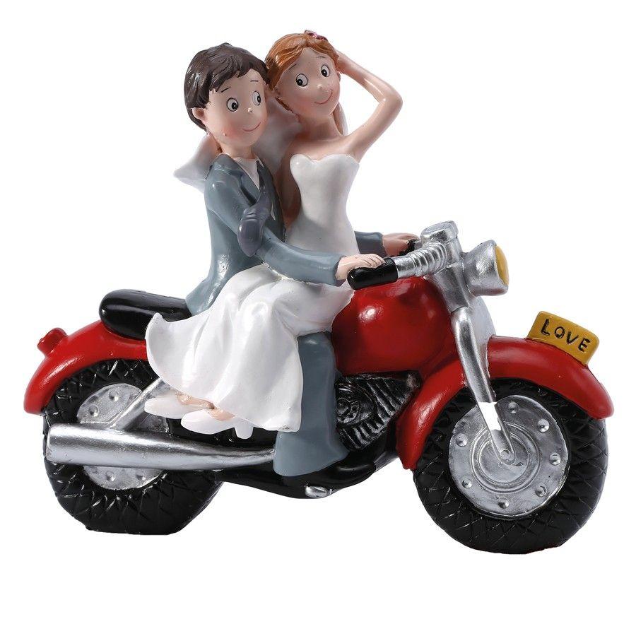 figurine mariage moto couple mari s sur moto rouge mariage figurine mariage couple mari s. Black Bedroom Furniture Sets. Home Design Ideas