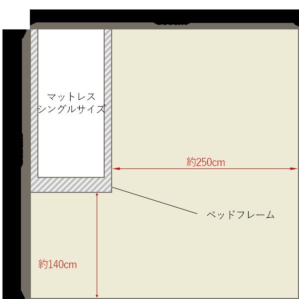 8畳の寝室にシングルベッドを壁寄せでレイアウト 8畳 4畳 6畳