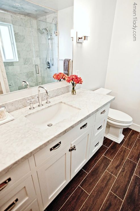 Honed Carrera Marble Countertops Transitional bathroom