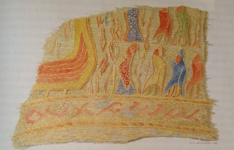 Tapestry from a chamber grave from ca 900 ad at Haugen farm, Rolvsøy, Østfold, Norway.