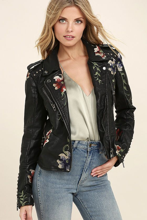 Blank Nyc Black Embroidered Vegan Leather Moto Jacket In 2020 Vegan Leather Moto Jacket Leather Jacket Girl Floral Leather Jacket