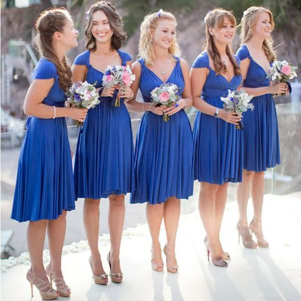 Convertible royal blue short jersey bridesmaid dresses for Royal blue wedding guest dress
