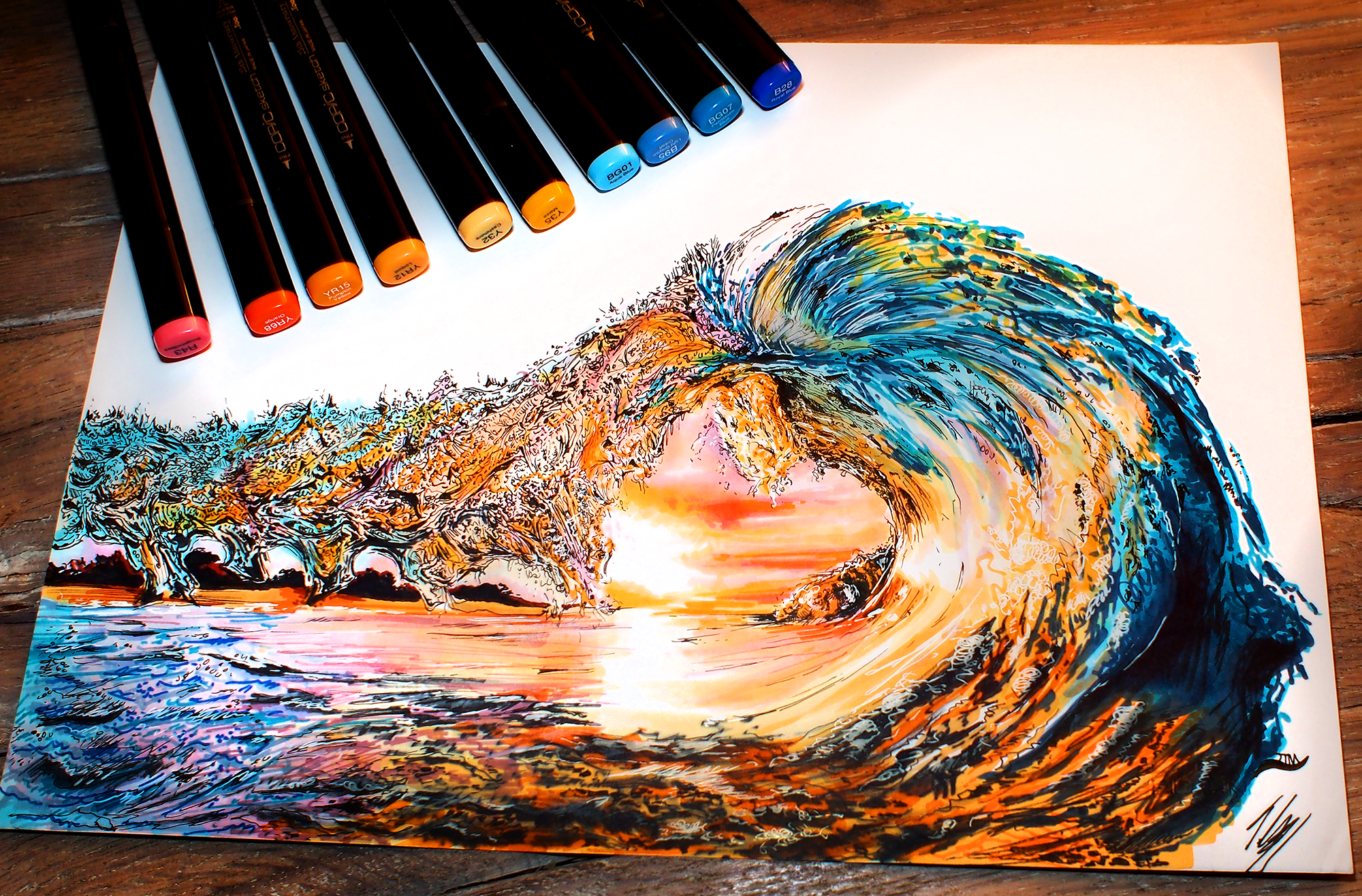 sunset wave COPIC Markers and Prismacolors on Bristol