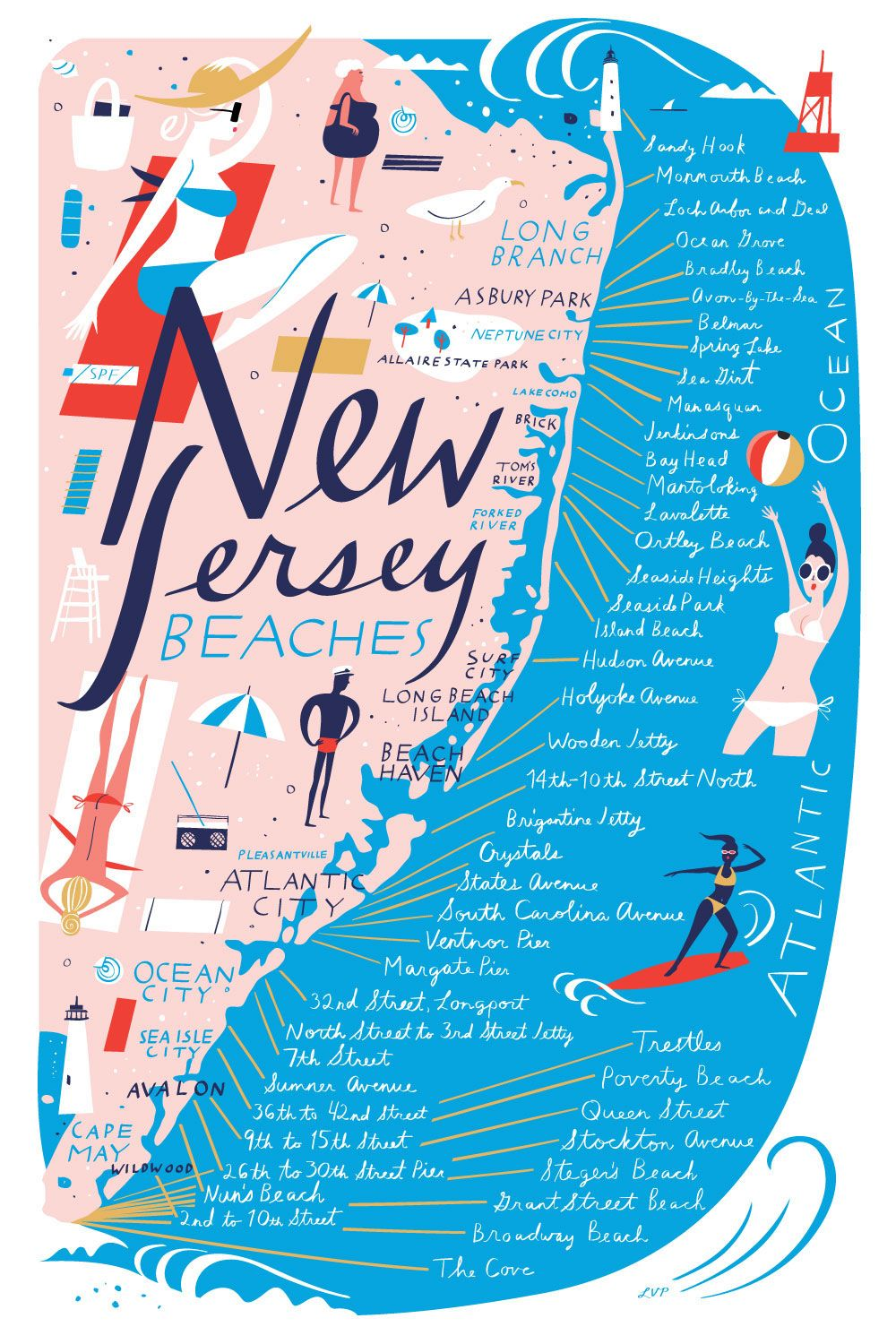 New Jersey Beaches Map New Jersey Beach Map   libby vanderploeg … | Illustration in 2019…