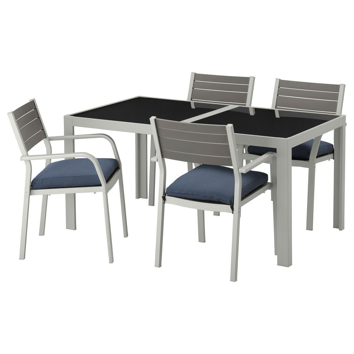SJÄLLAND, Tisch+4 Armlehnstühle/außen, Glas, Blau Jetzt Bestellen Unter: