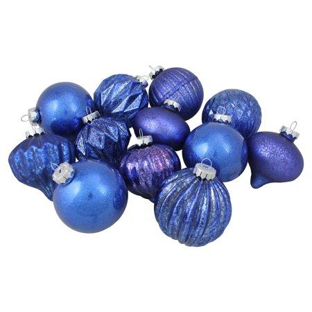 12ct Royal Blue Multi Finish With Various Shaped Christmas Ornaments 3 75 Walmart Com Blue Christmas Ornaments Christmas Ornament Sets Glass Christmas Ornaments