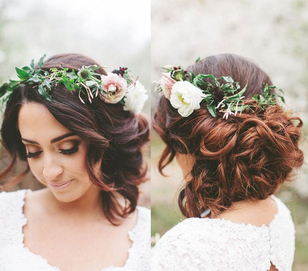 Top 50 wedding short hairstyles with flower crown ideas nice tops top 50 wedding short hairstyles with flower crown ideas izmirmasajfo