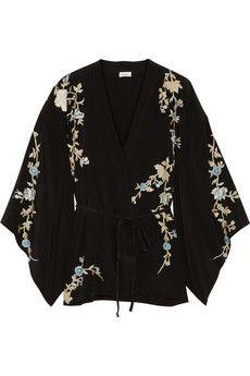 2687059fc25 Talitha Floral-embroidered silk-crepe kimono jacket   NET-A-PORTER ...