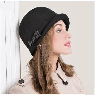 British style bow cloche hat for women black soft wool hats autumn Bowler Hat  Women bbf013c58ed9