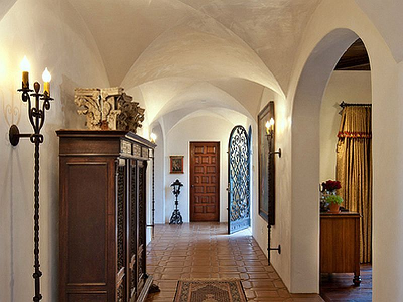 Spanish colonial revival home hall interior design for Colonial house interior design