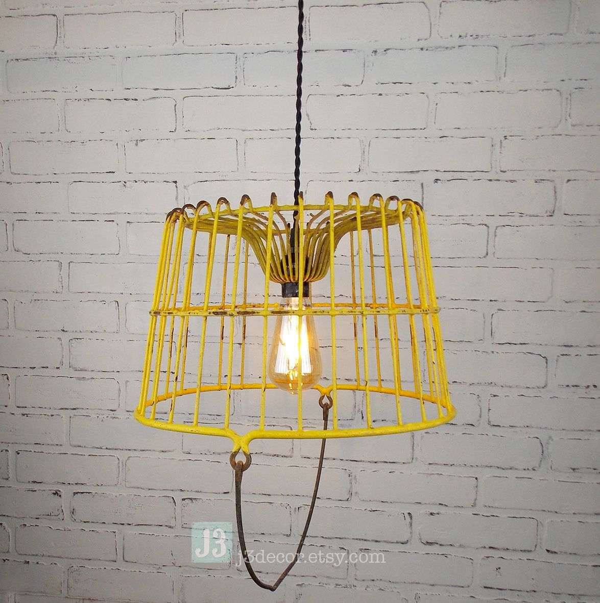Repurposed Yellow Metal Basket Chandelier Hanging Pendant Light