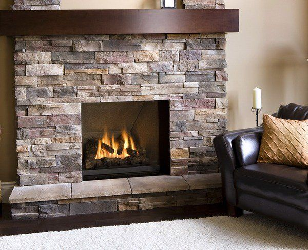 gas fireplace stone veneer ideas airstone wooden mantel