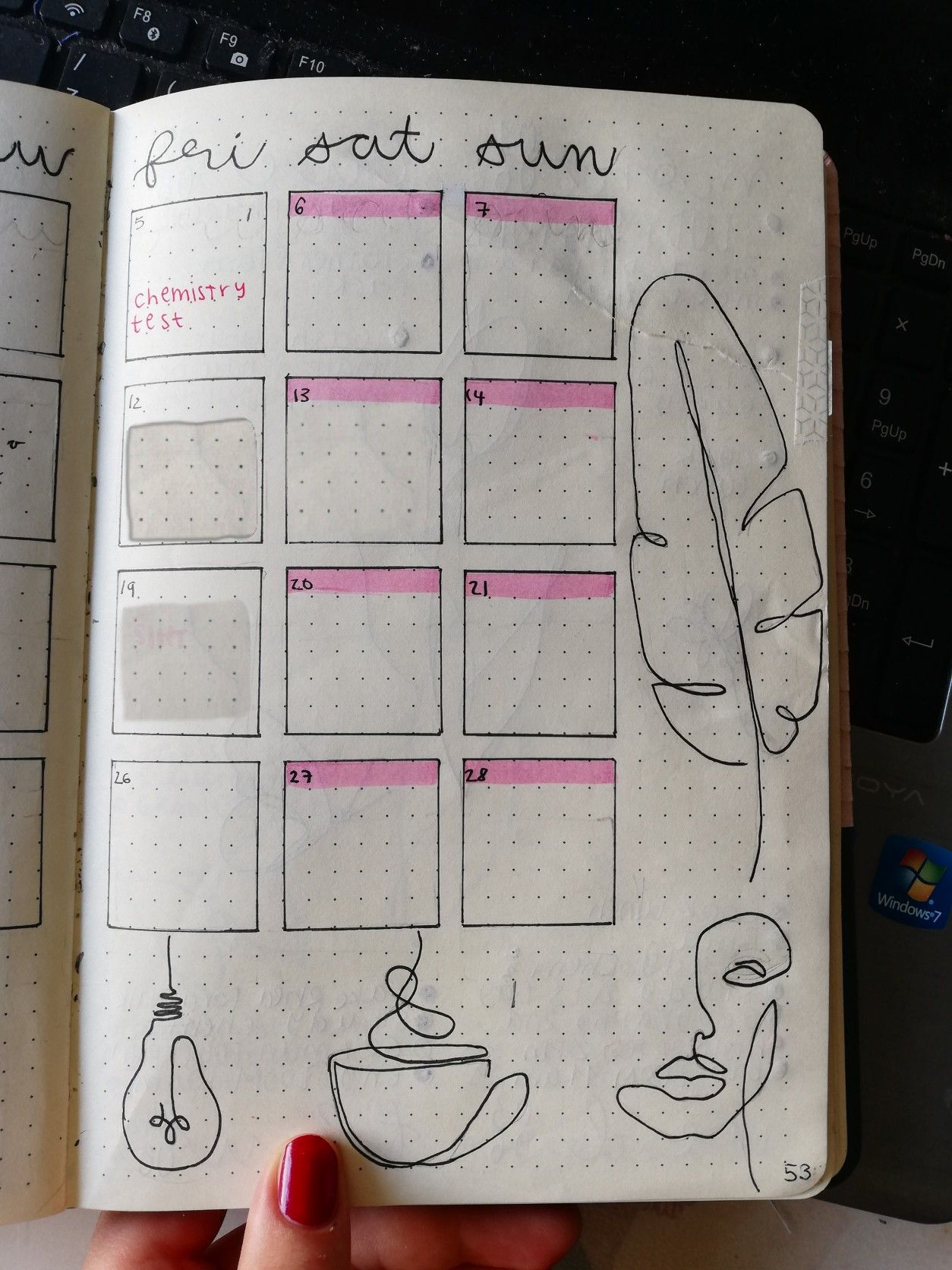 Bullet journal monthly page line art pink theme