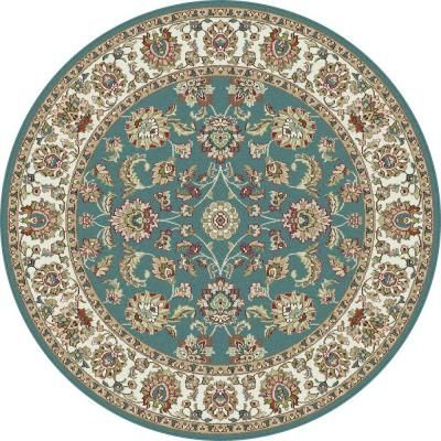 Tayse Rugs Capri Blue 5 Ft 3 In Round Traditional Area Rug