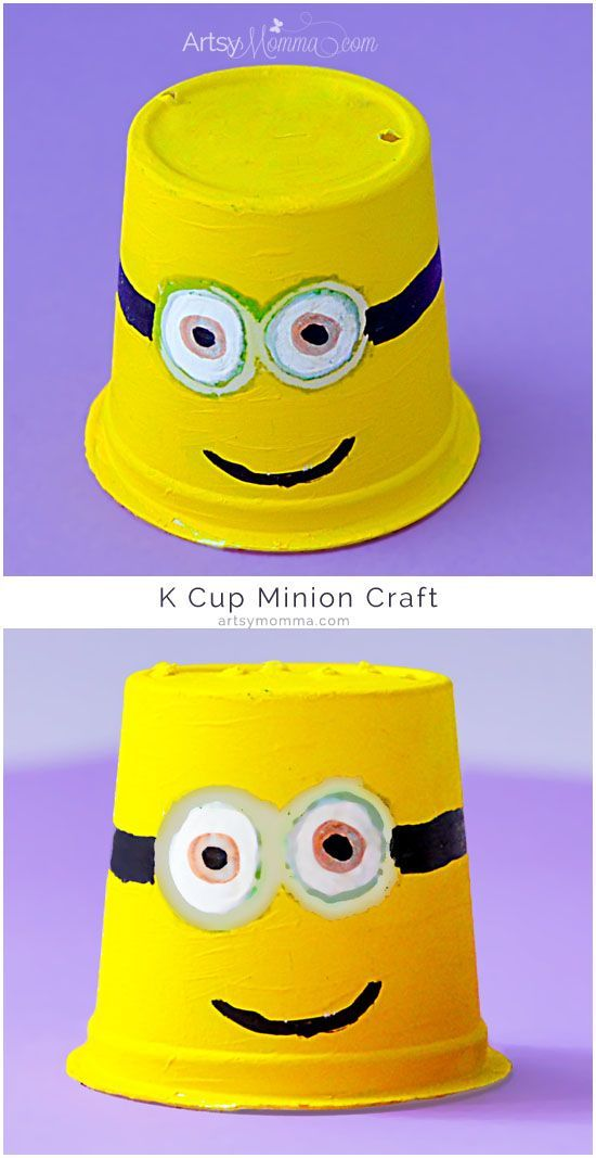 Recycled K Cup Minions Craft Ideas For Kids Minion Craft Cute
