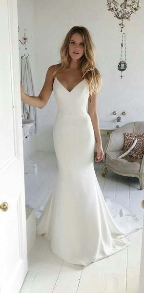 Charming V neck Spaghetti Straps Mermaid Prom Dresses, Long Simple Wedding Dresses, PD1342,  …