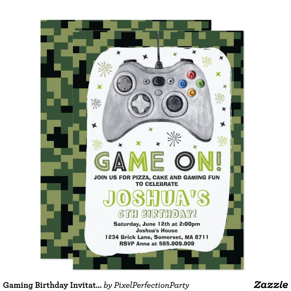 Gaming Birthday Invitation Video Game Birthday | Pinterest