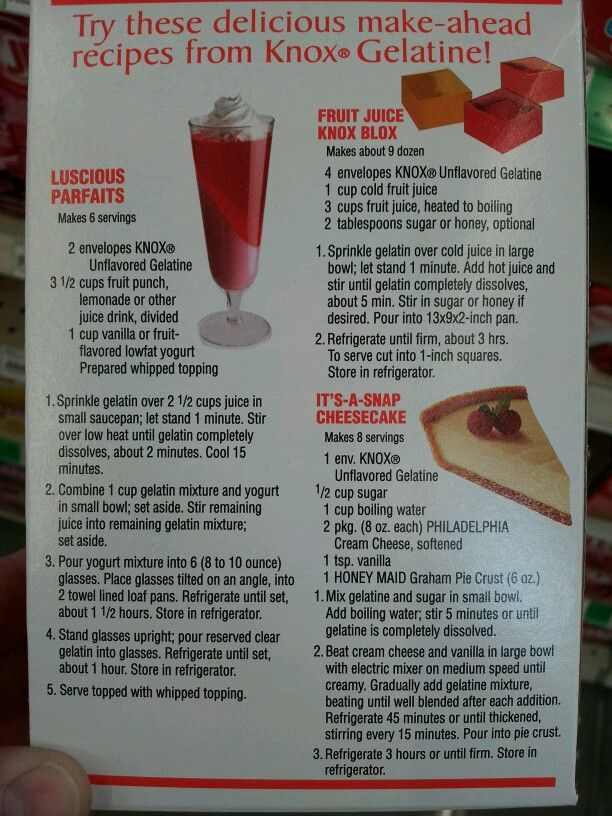 Back of the Knox unflavored gelatin box recipes | Unflavored Gelatin ...