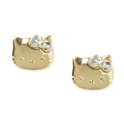 Hello Kitty Gold Stud Earrings Earrings Hello Kitty Earrings Kitty