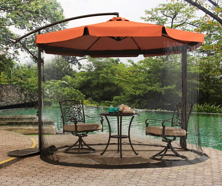 Rust Orange Offset Umbrella With Netting 9 8 At Big Lots Cantilever Patio Umbrella Patio Umbrella Patio Umbrellas