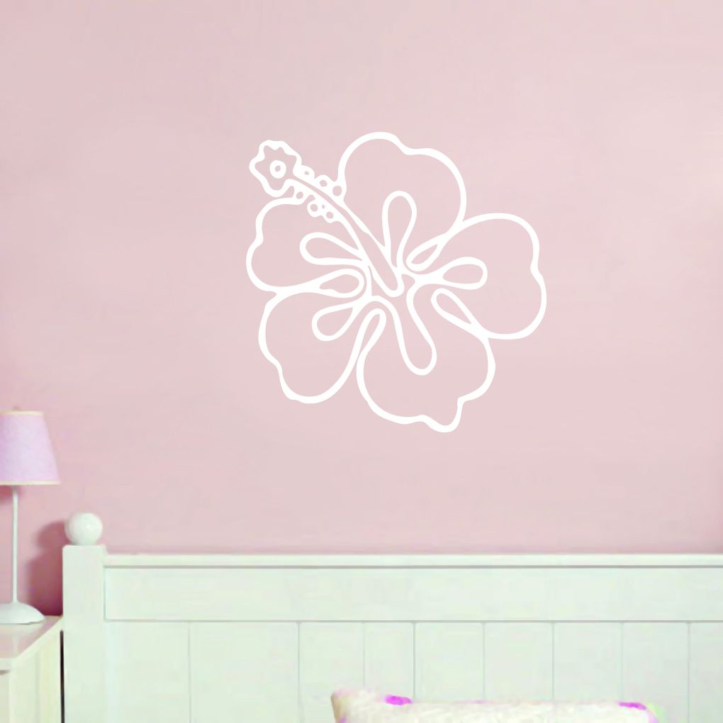 Hibiscus Flower Outline Wall Decal Flowers And Shapes Decals
