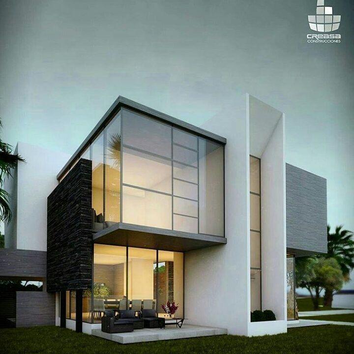 Exterior Home Design App: Fachada Minimalista Com Linhas Retas Panos De Vidro Deixam