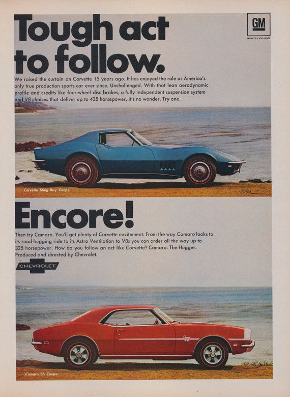 1968 Chevrolet Corvette Sting Ray & Chevy Camaro SS Coupe Sports Cars Photo Print Ad Vintage Auto Advertisement Garage / Man Cave Wall Art