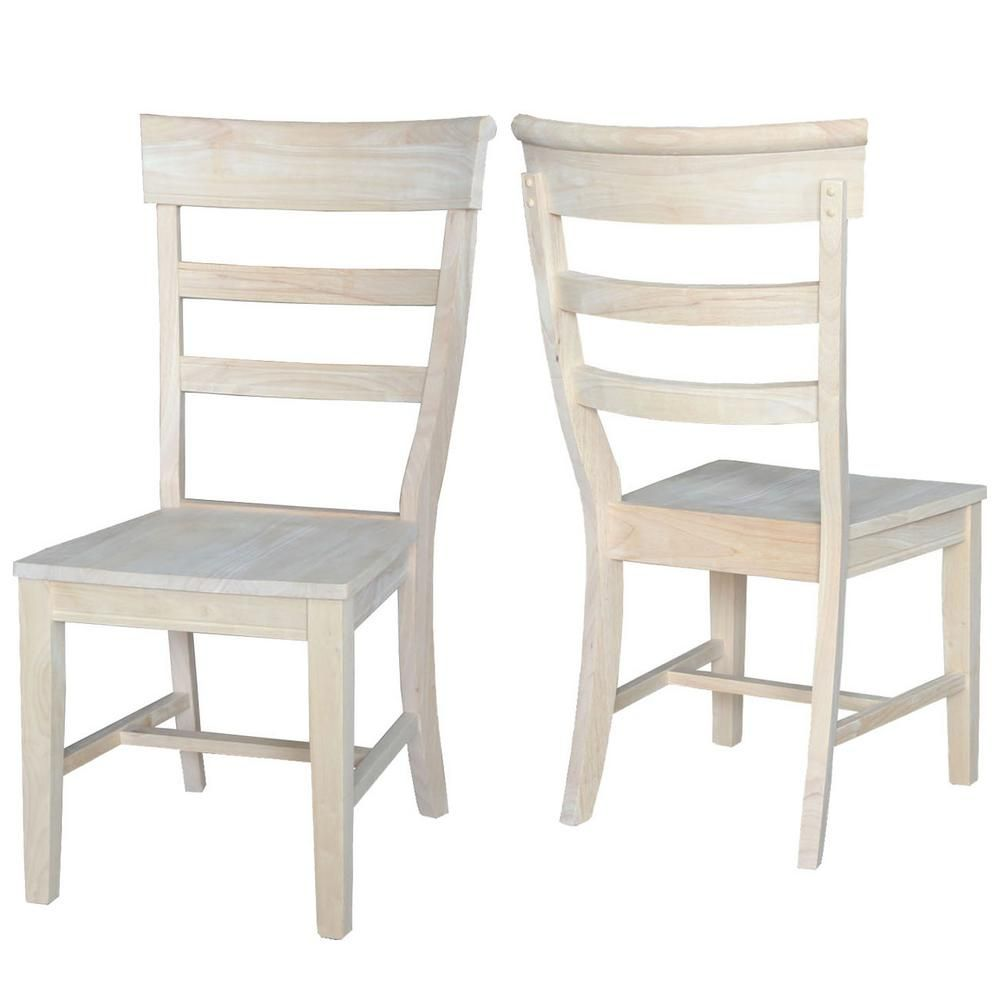 International Concepts Hammerty Unfinished Wood Dining Chair Set Of 2 C 36p The Home Depot Solid Wood Dining Chairs Side Chairs Dining Traditional Dining Chairs
