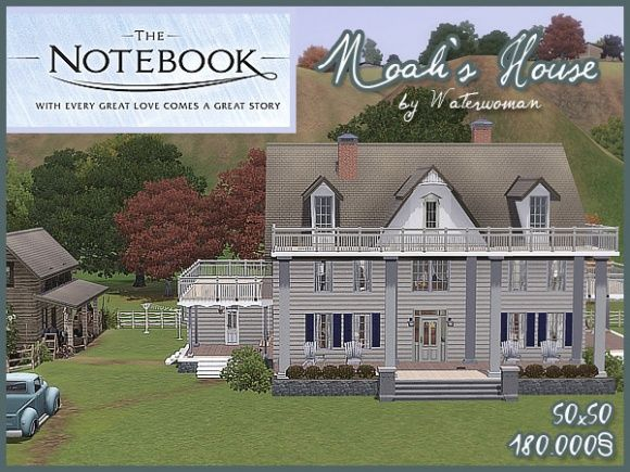 The Notebook Noah S House By Waterwoman At Akisima Sims 3 Finds With Images Sims Funny Sims House Sims