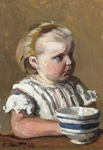 L'Enfant à la tasse, portrait de Jean Monet by Claude Monet (Private Collection - M.S. Rau Antiques/Auction sale) - Impressionism