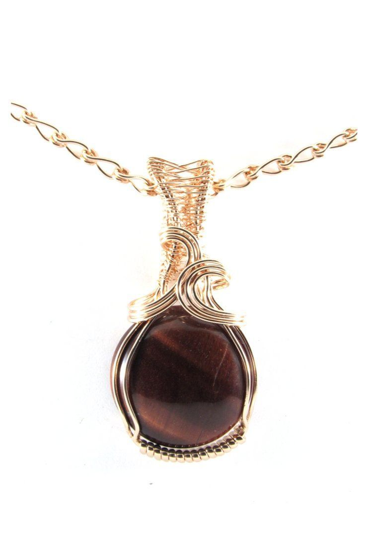 Red Tiger Eye 14k Rose Gold Round Pendant Necklace Wire Wrap Jewelry