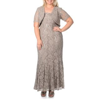 R & M Richards Women's Plus Size Mocha Flared Lace 2-piece Gown | Overstock.com Shopping - Top Rated R & M Richards Dresses 94.99