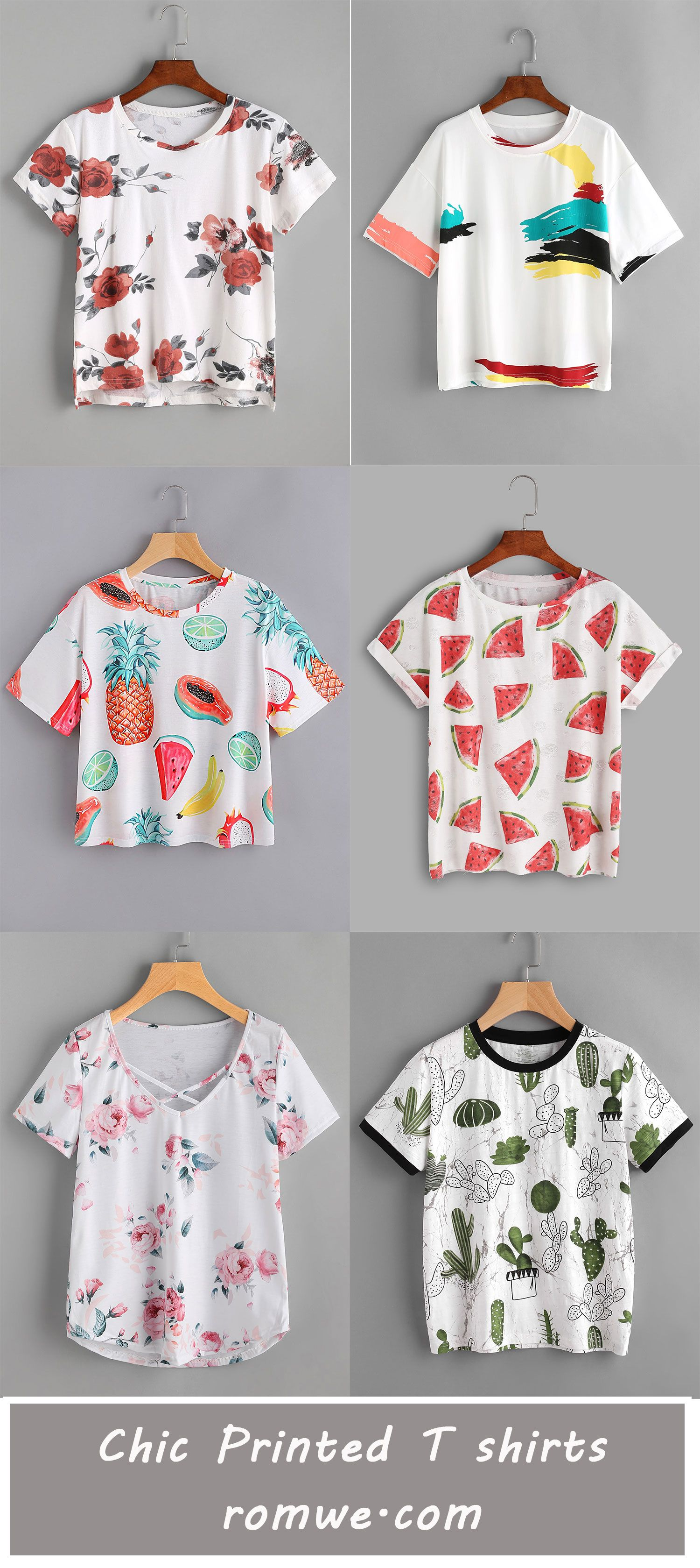 Chic Printed T shirts 2017 - romwe.com