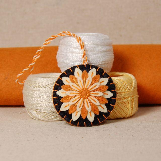 Handmade Wool Felt Scissor Fob - Orange & Straw Daisy Flower   Flickr - Photo Sharing!