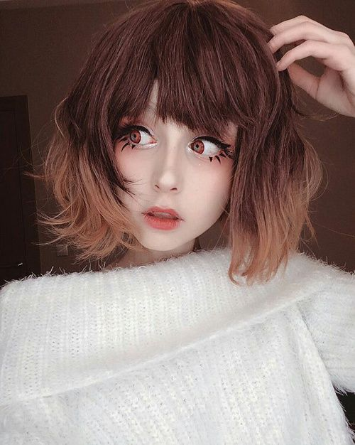 Aww:) anime makeup!! To make you look like a delicate doll ...